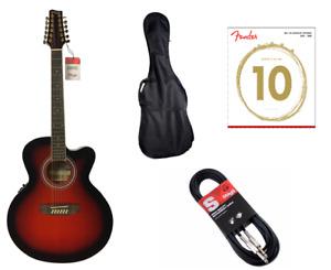 Stagg SA40JUCFIBS12 Acoustic Electric Jumbo Guitar Free Padded Gig Bag & Strings