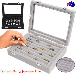Earring Ring Jewelry Display Show Case Box Organizer Holder Storage Velvet Tray