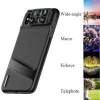 Camera Lens Fisheye Wide-angle Telephoto Macro Case Cover 6 in 1 For iPhone X/XS