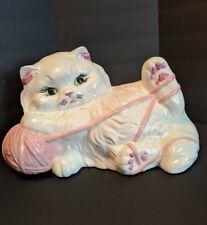 Vintage Ceramic Persian Feline Cat Figurine Large White With Pink Yarn