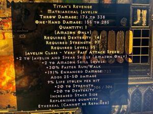 Diablo 2 Resurrected D2R Softcore PC - Titans Revenge Eth Upped 191% ED