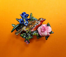 HANDMADE HAND PAINTED SMALL Clay ROBIN PINK ROSE & IRIS BROOCH Lapel Flower Pin