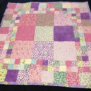 "Handmade Patchwork Lap Quilt 37""Sq Happy Colorful Blocks Pink Purples Juvenile"