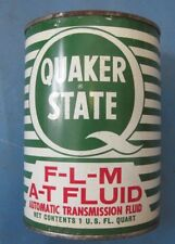 Quaker State metal quart oil can F-L-M Ford AT fluid late 1950's never opened