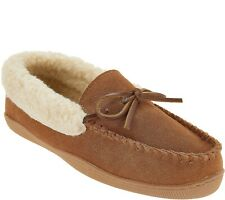 Clarks Suede Women's Slipper with Faux Shearling Size 7M Cognac