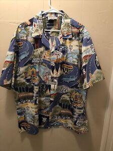 Vintage Single Stitch Pacific Legend Route 66 Button Up Hawaiian Shirt Size 2XL