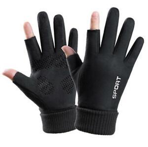 Warm Gloves Suede Cold Sports Gloves Half-finger Two-finger Billiard Gloves