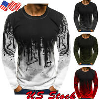 Men's Shirts Casual T-shirt Tops Blouse Slim Fit O Neck Long Sleeve Muscle Tee