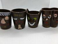 SHOTGLASS SET OF 4 Funny Shot glasses, Brown Different Shot Names Vintage