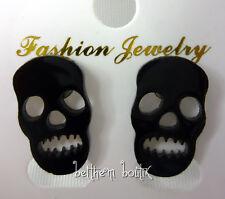 Goth : Boucles d' Oreille Clou Puce Tête de Mort NOIR Transparent Gothique