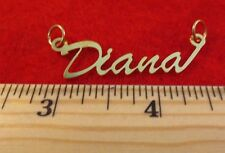 "14KT GOLD EP ""DIANA"" PERSONALIZED NAME PLATE WORD CHARM PENDANT 6108"