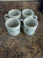 Longaberger Woven Traditions HERITAGE GREEN set of 4 Coffee/Tea Mugs