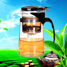 Clear Glass Tea Coffee Maker Mug Pot With Filter Infuser Straight 500ml 17Oz