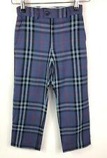 Boys BURBERRY Trousers Age 4 Blue Nova Check Wool Blend GENUINE