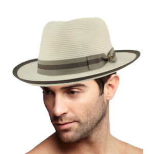 "Dapper Men's Summer Light Panama Derby Fedora Wide 2-1/4"" Brim Sun Hat"