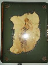 ANTIQUE CABINET CARD ALBUM~BEAUTIFUL LADY WITH WINGS ON COVER~ORANGE VELVET PATT