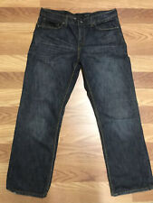 Men's Helix Jeans Pants Size 36 x 30 Straight Denim Dark Distressed 100% Cotton