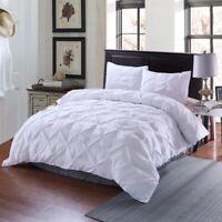 White Pintuck Duvet Cover Set King Queen Size Bedding Set Pillowcases US