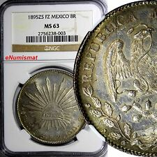 MEXICO Silver 1895 ZS FZ 8 Reales NGC MS63 Zacatecas Lustrous Toning KM# 377.13