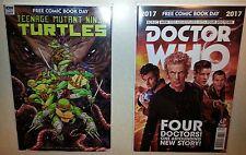 FCBD 2017 Comic Book lot,1 Dr Who (with 4 Doctors) &1 TMNT, Promotional Comics