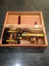 Antique Vintage Brass Lacquered Microscope Student Field + Box old rare slide