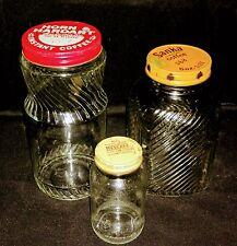 Vintage Coffee Jars And Lids Collection-Horn+Hardart, Sanka, Nescafe