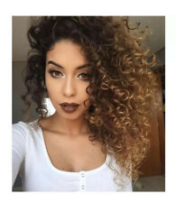 Long Synthetic Ombre Blonde Afro Curly Wig for Women African Hairstyle Cosplay