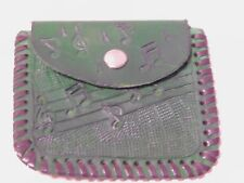Genuine Leather Coin Pouch with Snap Hand Tooled, Stamped Leather Lace Stitching