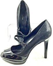 Calvin Klein Capri Mary Jane Pump Women's 9.5 M Black Lizard Peep Toe Heel Shoes