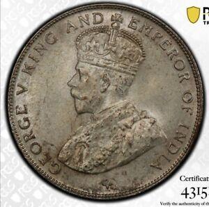 Straits Settlements 50 Cents 1921 PCGS MS64+