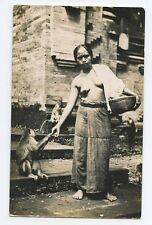 Asia Indonesia ? Ethnic Nude Lady feed Monkey original old 1920s Photo postcard