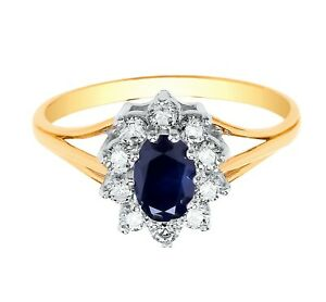 Sapphire Cluster Engagement Ring Solid Yellow Gold Hallmarked British Made