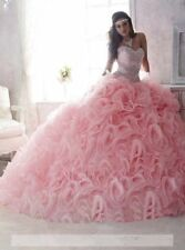 Luxury Princess Ruched Pink Sweetheart Quinceanera Dress Wedding Bridal Ballgown