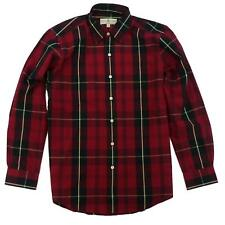 New Fairway & Greene Mens Huron Poplin Plaid Button Down Shirt Red Tartan Medium