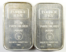 1981 USVI Ingot Co A-Mark Amark 1 oz .999 Silver Ingot Bars - 194S Lot of Two