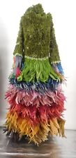 Fab OOAK 4 PC. Costume All Feather Wrap Skirt, Rosette Jacket, Feather Headdress