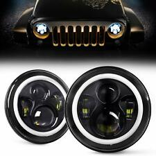2PCS 7Inch LED Round Headlight with Halo Angle Eye for Jeep Wrangler JK LJ TJ CJ