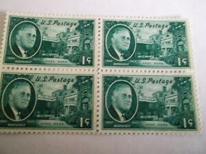 1945/6 United States Franklin D. Roosevelt 1c Green Block of 4 u/m Mi.737,.