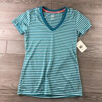 REEBOK #T5142 Women's Size XS Play Dry V-Neck Striped Blue Athletic T-shirt