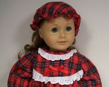 """Plaid Old Fashion Pajama Nightgown-Cap Doll Clothes For 18"""" American Girl (Debs)"""