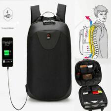 Anti-theft Mens USB Charger Port Backpack Laptop Notebook Travel School Bag Unix