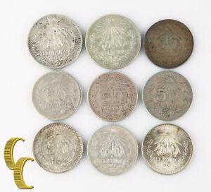 1914-1935 Mexico 50 Centavos Lot (F-UNC, 9 coin) Silver 50c Cincuenta KM#445-448