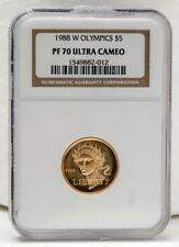 1988-W Gold $5 Olympics Coin NGC PF70 Graded Coin - PR70 Ultra Cameo