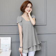 Korean Summer Women Ladies Chiffon T Shirt Short Sleeve Tunic Blouse Top Plus SZ