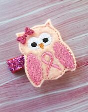 Girls & Womens Breast Cancer Awareness Owl Hair Clip Hair Bow Handmade by me usa