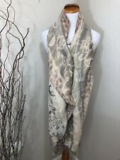 "Large Scarf Shimmer Sparkle Neutral Colors 72"" Long"
