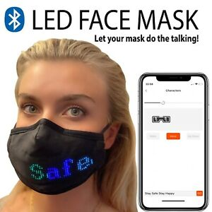 LED Face Mask Bluetooth Cover Personalise Custom Programmable Party Dance APP
