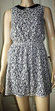 ATMOSPHERE Black Cream Faux Leather Collar Sleeveless Summer Dress Size 10