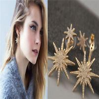 1 PCS Women Lady Crystal Rhinestone Dangle Gold Star Ear Stud Earring Jewelry