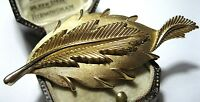Vintage 1950's Crown TRIFARI Jewellery Signed Gold tone Large Leaf Pin BROOCH